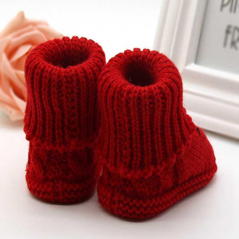 Zapatos calientes para bebés Otoño Invierno botas de nieve de punto de lana espesar caliente zapatos de bebé infantil calzado forborn