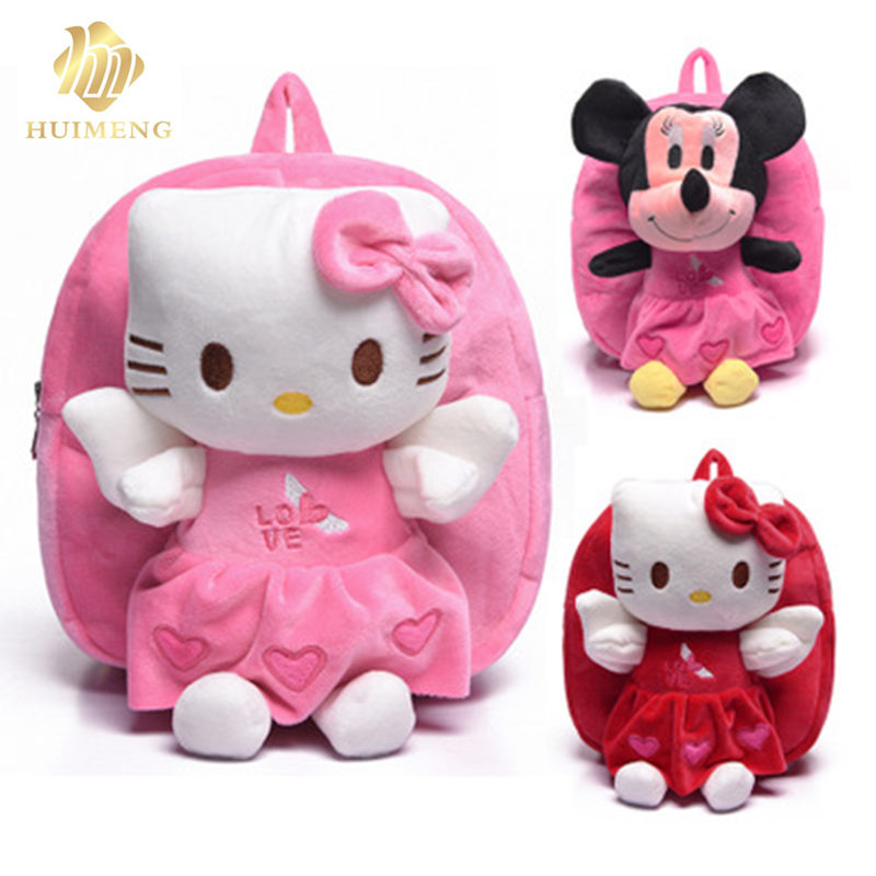 2018 HUIMENG hot sale Cartoon lovely childrens bags Kindergarten small class baby girl and boys backpack KT cat Mickey backpack