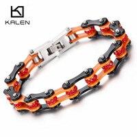 Kalen Punk Stainless Steel Black Orange Bracelet Men Biker Bicycle Motorcycle Chain Red Rhinestone Bracelets Men