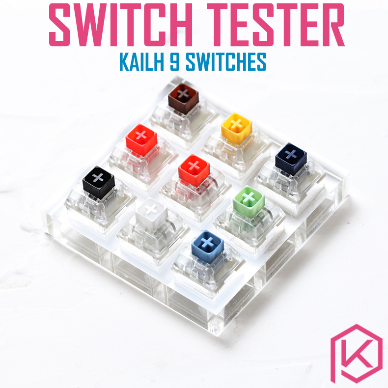 9 Switch Switches Tester With Acrylic Base Blank Keycaps For Mechanical Keyboard Kailh Box White Orange Yellow Blue Jade Navy