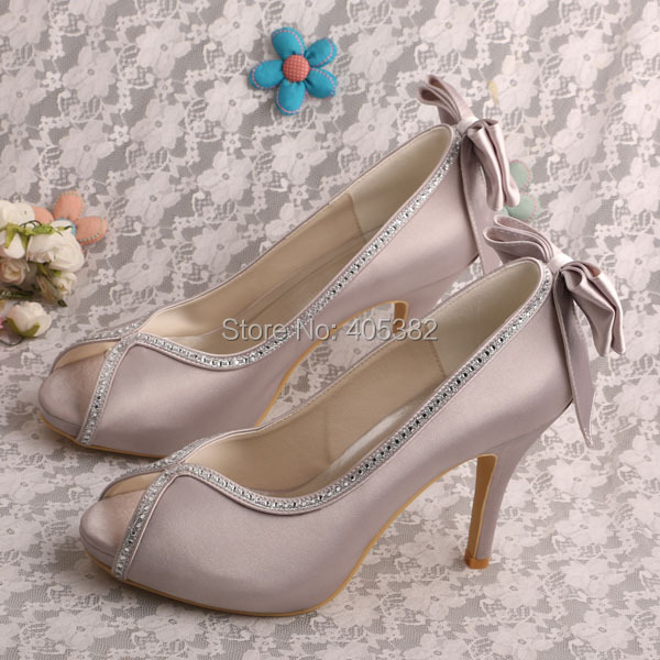 Wedopus MW1348R Customized Grey Designer Wedding Heels Open Toes with Back  Bowtie 4 Inch-in Women s Pumps from Shoes on Aliexpress.com  62315e7518e7