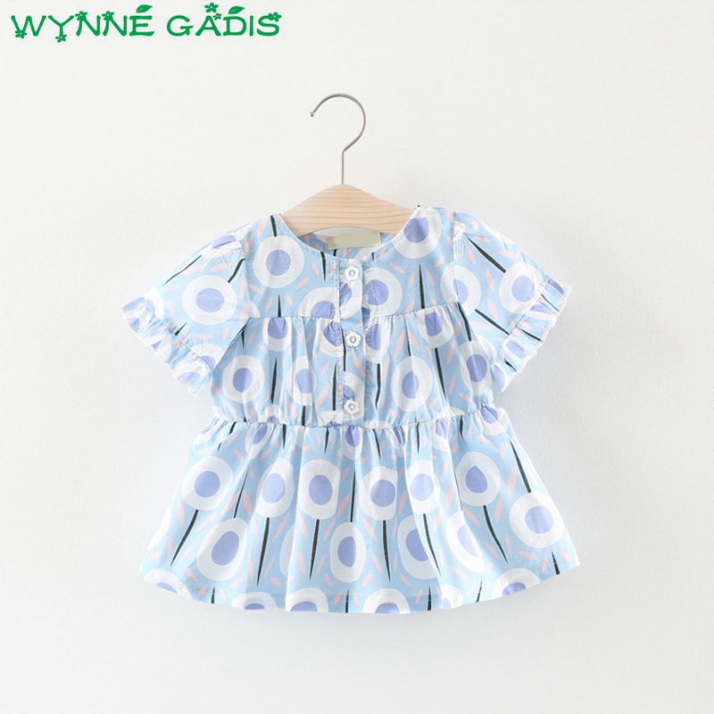 Summer Baby Short Sleeve O Neck Floral Print Cute Princess Party Girls Dress Infant Kids Clothes vestidos