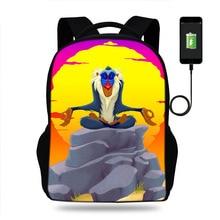 Oxford Backpack Lion King Simba Mufasa Rafiki School Backpacks For Teenagers Boys/Girl Student Book Bag Boys Satchel School Bags
