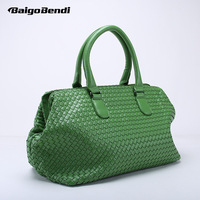 Brand New Large Capacity Travel Bag Criss Cross Woven Leather Handbag Women's Knitting Casual Tote Hobo