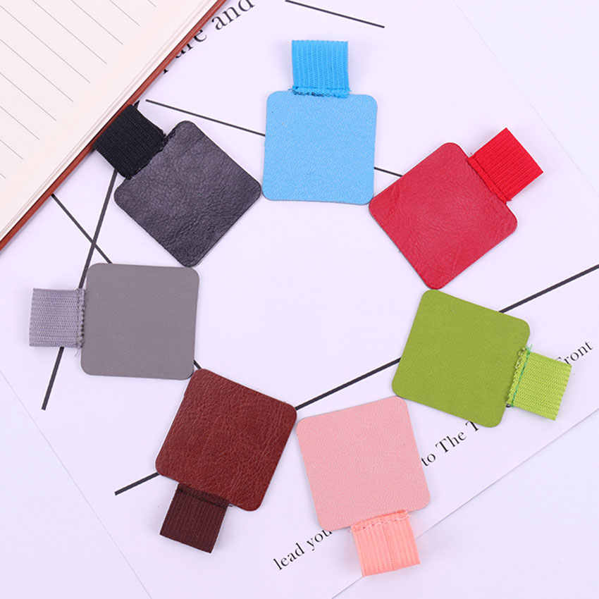 1PC Pen Cover Self-Adhesive Leather Pen Clip Pencil Elastic Loop For Notebooks Journals Clipboards Pen Holder School Supplies