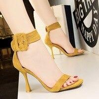 2018 Women Summer 8cm Fetish High Heels Yellow Sandals Lady Strap Velvet Stiletto Pumps Female Scarpins Flock Heels Black Shoes
