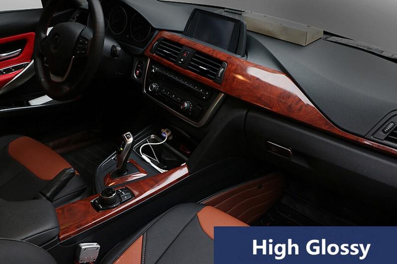 High Glossy Birds Eye Car Interior Vinyl Wood Textured Grain Car
