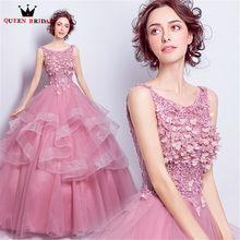 QUEEN BRIDAL Evening Dresses Ball Gown Fluffy Flowers Beading Pink Long  Prom Party Dress Evening Gown 2018 Vestido De Festa JW47 df99179da694