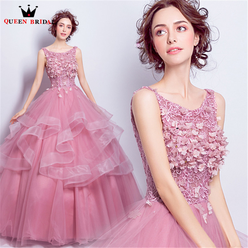 QUEEN BRIDAL   Evening     Dresses   Ball Gown Fluffy Flowers Beading Pink Long Prom Party   Dress     Evening   Gown 2018 Vestido De Festa JW47