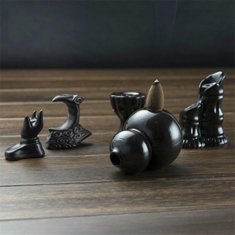 Small Ornaments Ceramic Incense CenserBackflow Sandalwood Incense Burner Cone Holder Desk Home Decor 1 pcs