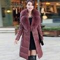 2015 nuevo invierno caliente espesa la mujer caliente abajo cubre Parkas Coat jacket prendas de vestir exteriores cuello de piel de zorro de piel de oveja larga tallas grandes 4XXXXL delgado
