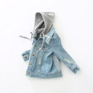 Image 2 - Boys Jacket kids Denim coat Children Outerwear girl clothing Spring Autumn boy hooded Jeans Clothes broken hole For 2 7T