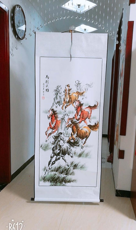 BON-TOP étrangères cadeau d'affaires Maison BOUTIQUE MUR Décoratif art Succès 8 de course chevaux FENG SHUI ART peinture chinoise travail