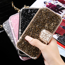 Kisscase для SAM S Унг Galaxy S 7 Edge кожа алмаз Флип ca S e блеск Рейн S тон капа Слот для карты бумажник для iPhone 6 6 S 7 plu s