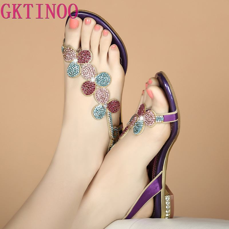 GKTINOO 2019 Rhinestone Women Sandals Genuine Leather Soft Rubber Sole Basic Buckle Strap Size 34-40 Womens Summer ShoesGKTINOO 2019 Rhinestone Women Sandals Genuine Leather Soft Rubber Sole Basic Buckle Strap Size 34-40 Womens Summer Shoes