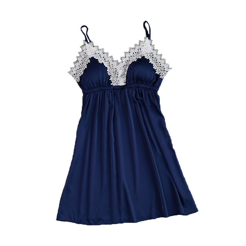 Ladis Faux Silk Satin Nightdress Sexy   Nightgown   Lace V-neck   Sleepshirt   Sleeveless Nighties Summer Sleep Dress For Women
