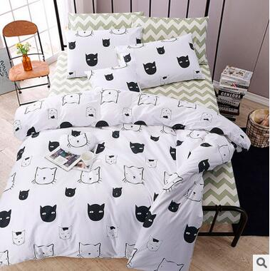 New Design Black And White Cartoon Fox Cat Boy Children Kids 100 Cotton 3pcs 4pcs Duvet Cover Bedlinen Bedding Set B3803 In Sets From Home