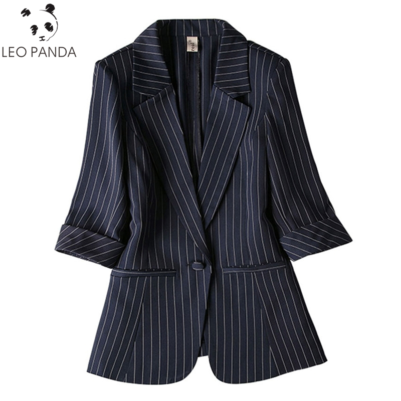 Plus Size 2020 Autumn One Button Office Lady Striped Women Blazers Spring Jackets Female Suits Coat Slim Work Outerwear Clothes