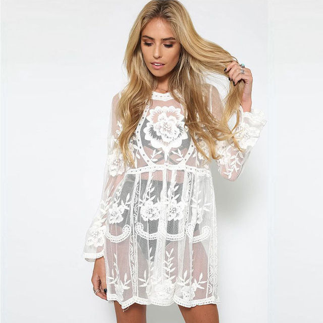 c21e22fddc Women Bathing Suit Lace Crochet Bikini Swimwear Cover Up Beach Mini Dress  Long Sleeve Floral Beachwear
