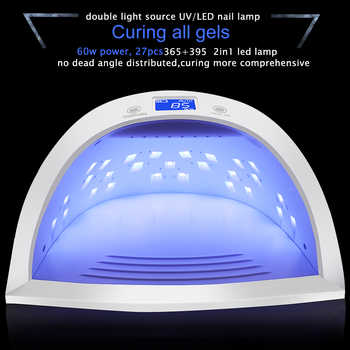 Newest 60W Rechargeable UV LED Lamp 27pcs LEDs Nail dryer Lamp for Curing All Types Nail Gels Polish Convenient to Carry