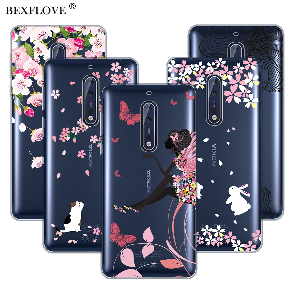 For Nokia 8 Case X6 Cover 7 Plus 5 Tempered Glass Warna Full Butterfly Gir Transparent 6 3 2018 In Fitted Cases From