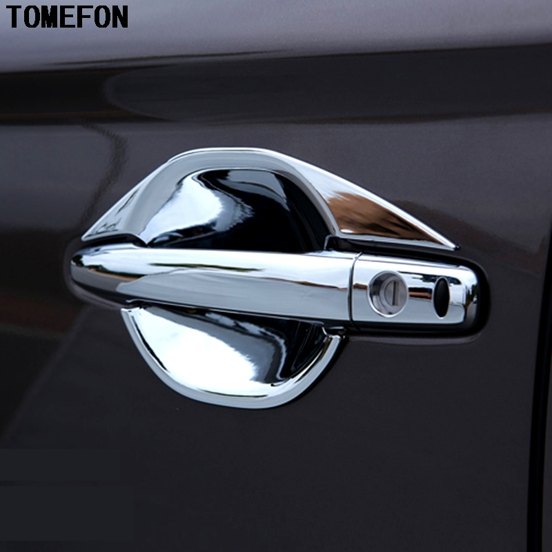 FIT FOR 2013 2014 2015 2016 2017 MITSUBISHI OUTLANDER CHROME DOOR HANDLE COVER + BOWL CUP CAP TRIM ACCESSORIES for mitsubishi outlander 2013 2014 2015 2016 car styling door s armrest panel cover decoration trim leather skin