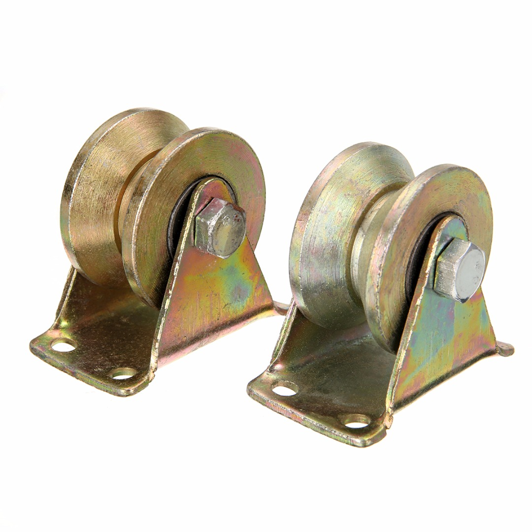 Mayitr 2pcs 2inch Sliding Gate Roller Wheel Steel V Type