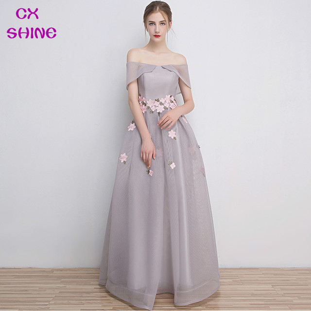 Aliexpress.com : Buy CX SHINE Gray long evening dresses flower prom ...