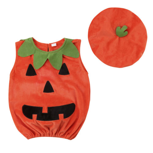 Hallowen Kid Baby Girls Boys Pumpkin Bodysuit Sleeveless Tops Hat Outfit Party Costume Clothes Set Cute Baby Boy Girl 0-3T turkey clothes set 3pcs newborn baby boy bodysuit long sleeve boe tops hat 3pcs outfit cotton party cute clothes set baby 0 18m