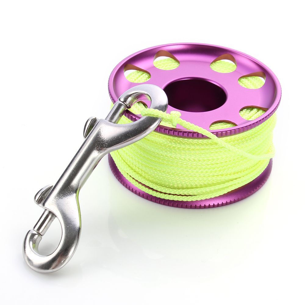 Scuba Diving Equipment Accessories 30m/100ft Finger Spool Reel Stainless Steel Nylon Line Snap Bolt