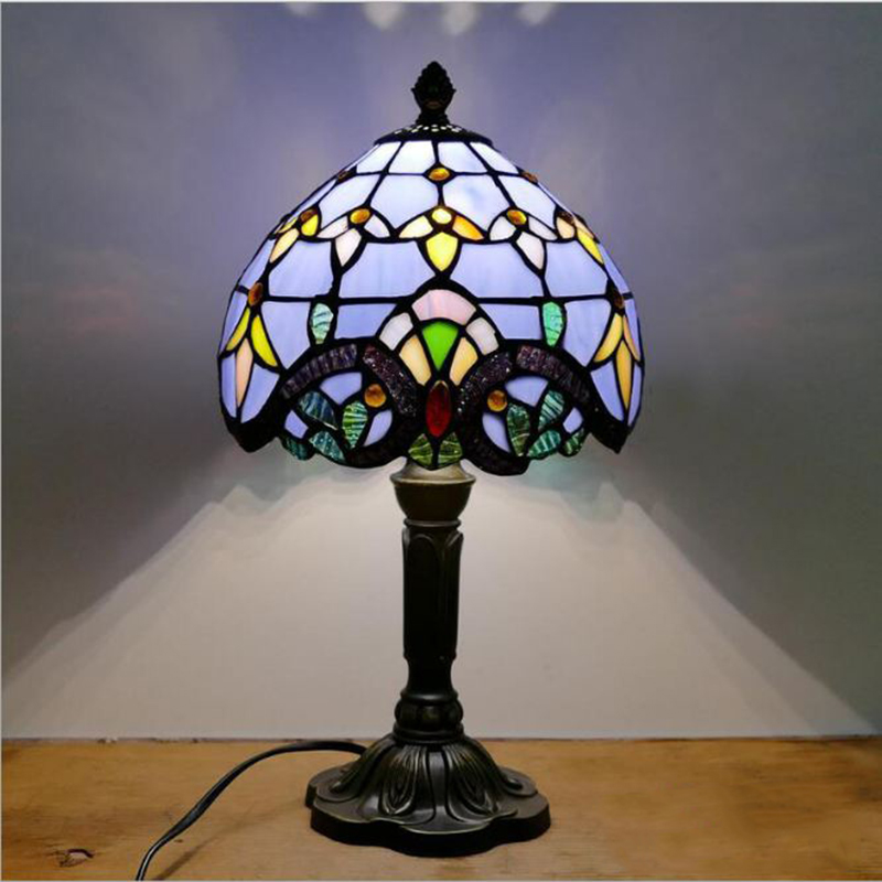 WOERFU Diffany Table Lamp 20cm Lamp Shape Resin Base E27 Bedroom Bedside Lamp Fashion Adjustable Light