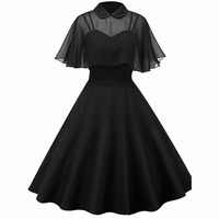 Women Vintage Gothic Cape Dress Autumn Two Piece Sheer Mesh Cape Patchwork Pleated Peter Pan Collar Elegant Retro Goth Dresses