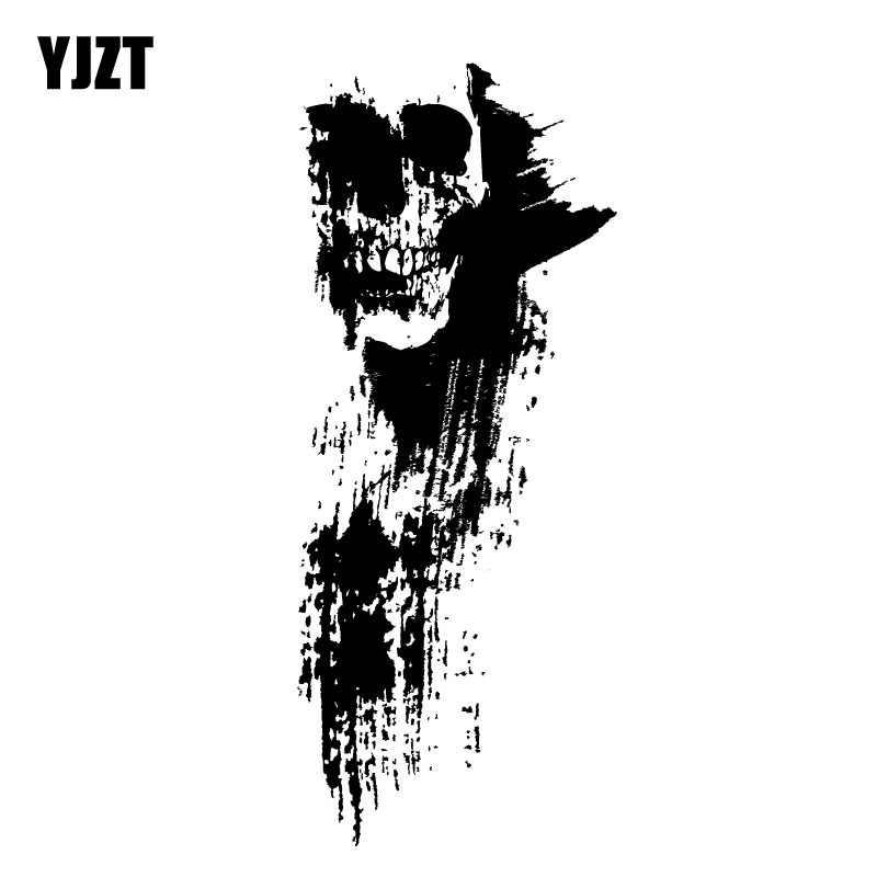 YJZT 6.6 سنتيمتر * 16 سنتيمتر نافذة السيارة دراجة نارية مائي الأسود صورة ظلية الجمجمة ملصق سيارة اكسسوارات 6-2322