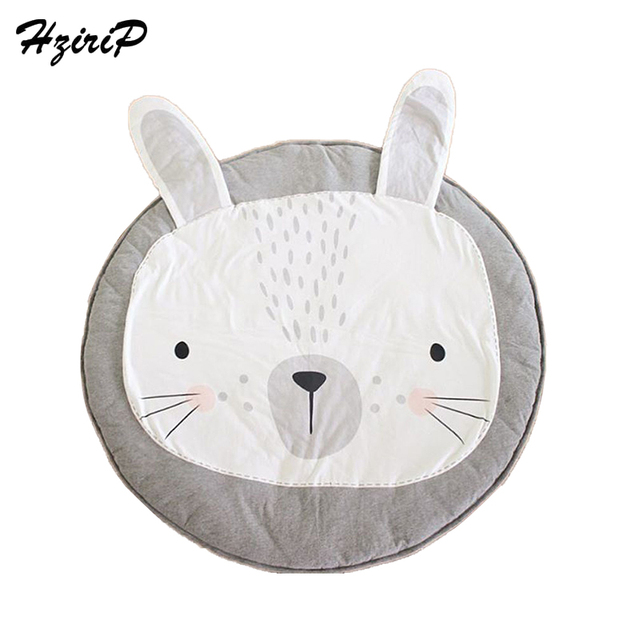Hzirip 95cm Kids Play Game Mats Round Carpet Rugs Mat Rabbit Printed