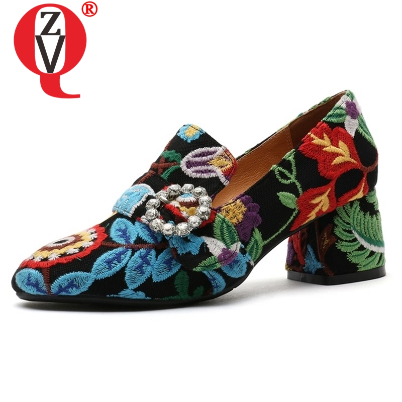 ZVQ shoes women 2019 spring new fashion embroider round toe slip-on women pumps outside crystal med square heel plus size shoesZVQ shoes women 2019 spring new fashion embroider round toe slip-on women pumps outside crystal med square heel plus size shoes