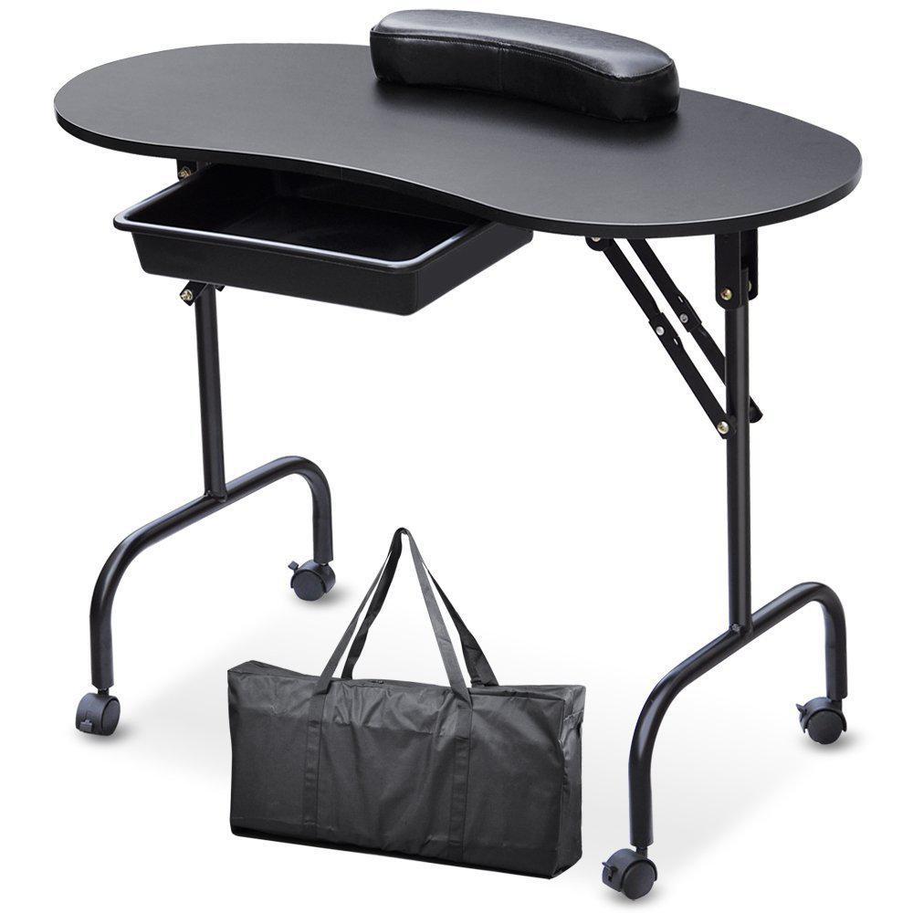 Портативный маникюрный Маникюрный Стол для ногтей, стол, спа-салон красоты, оборудование для ногтей, складной столик для ногтей, черно-белый - Цвет: 1