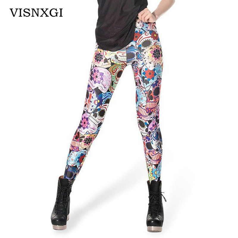 VISNXGI Living Dead High Quality Women Leggings Scotland Tartan Printed Skinny Leggins Sexy Fitness High Elastic Mujer Legging