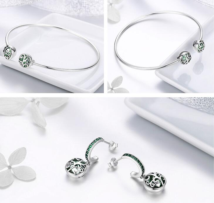 Authentic 925 Sterling Silver Sets Luxury Tree of Life Green Crystal AAA CZ Jewelry Set Sterling Silver Jewelry Gift-in Jewelry Sets from Jewelry & Accessories    2
