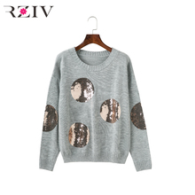 RZIV 2017 autumn sweater women casual knitted women sweaters and pullovers sequins sweater long sleeve womens clothing