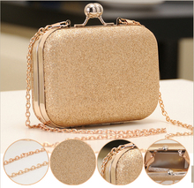Elegant Mini Party Bag Clutches Women's Shinning Small Handbag Bag Golden Purse Wallet With Chain