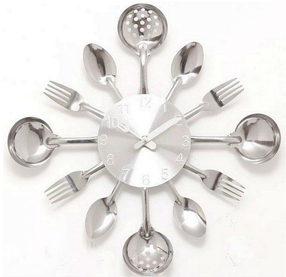 18Inch Large Decorative Wall Clocks Saat Metal Spoon Fork Kitchen ...