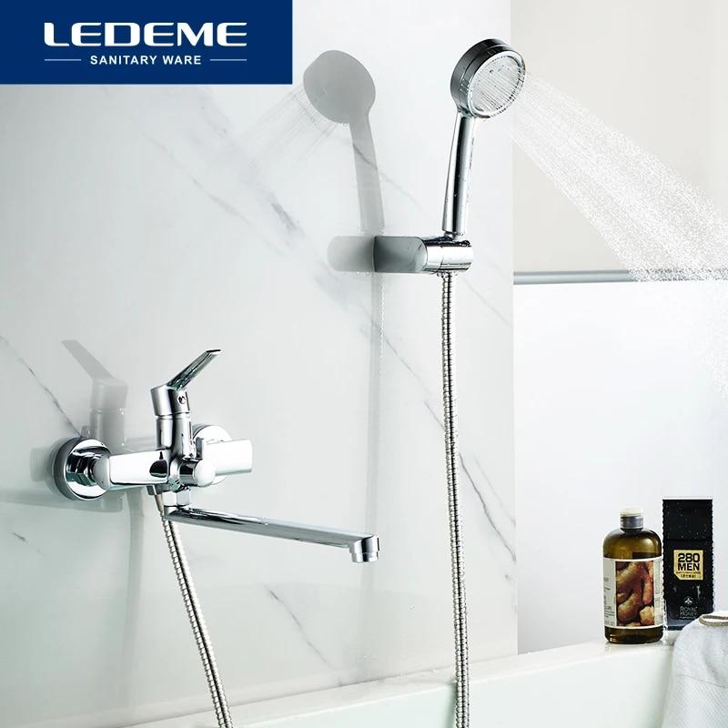 ledeme long spout bathtub shower faucet wall mounted handheld shower mixer tap bathtub faucets chrome bath mixer faucet l2269
