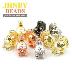 JHNBY 4pcs helmet Copper Spacer beads Zircon Sparta metal 4 colors Charms Loose beads for Jewelry bracelets making DIY Findings