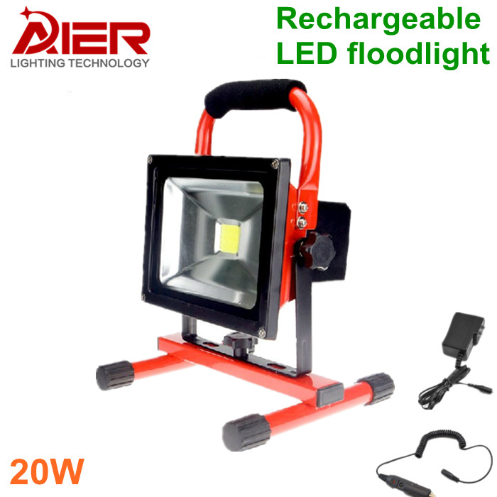 Free shipping 20W LED Rechargeable Flood Light, LED Outdoor Emergency Lighting, waterpro ...