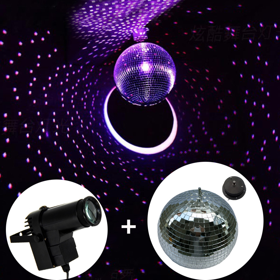 10w Rgb Beam Pinspot Disco Dj Stage Lights D25cm Reflective Gl Rotating Mirror Ball With Motor Fixtures For Ktv Club Party