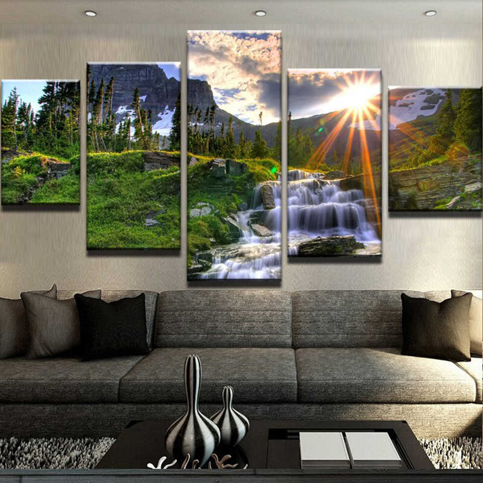 Modular Painting Canvas Wall Art 5 Piece Sunrise Forest Waterfall Landscape Picture Decor For Living Room HD Print Poster Frame