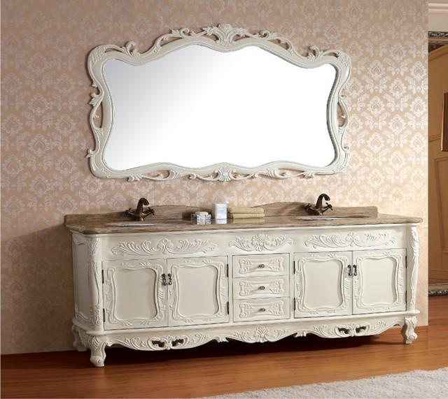 Madera maciza mueble de baño antiguo con espejo y lavabo clásico ...