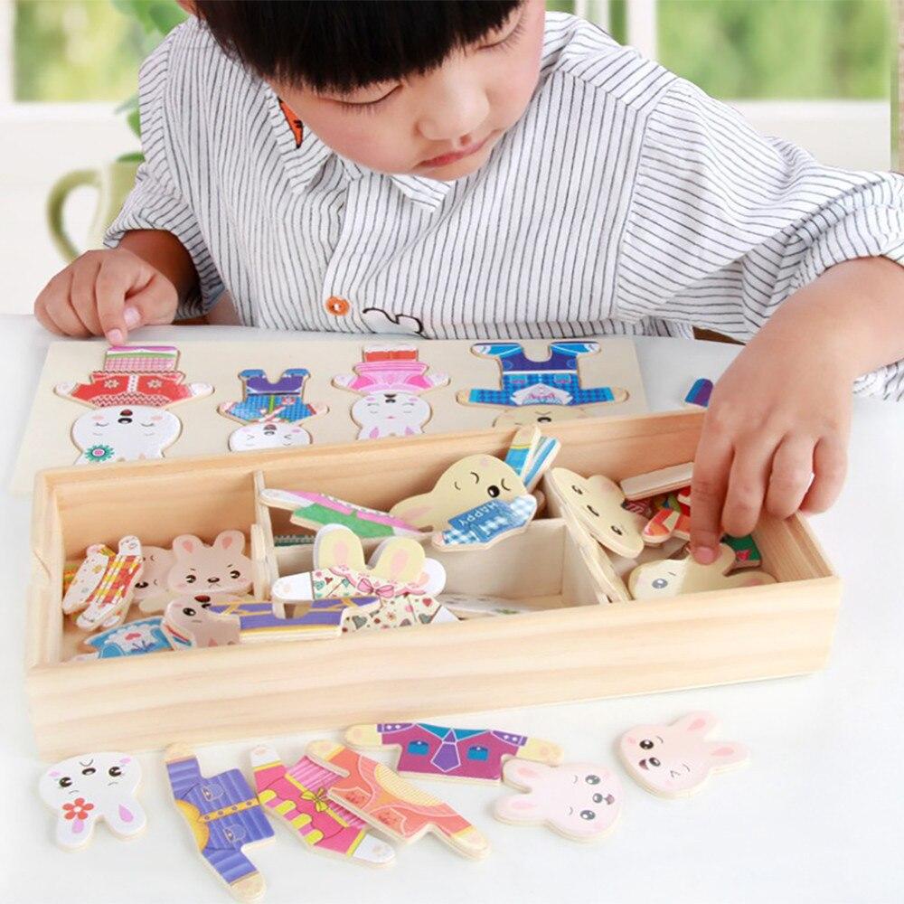 HIINST мультфильм 4 кролика и медведя платье изменение головоломки деревянные игрушки развивающие переодеться игрушки