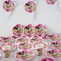 51 unids/lote 10 personas utilizan minnie mouse bebé feliz cumpleaños decoraciones del partido kids evento suministros placa taza ect servilletas