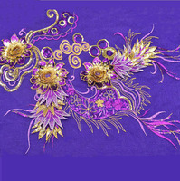Gold Embroidery Flowers Fabric Women Apparel Stage Costume Patch Wedding Accessories Embroidered Clothing Patches 45 30cm